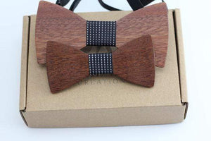 Angiewoodcreations Wooden bow tie 12 ( Black with vertical stripe) 100% Natural Eco-friendly FAMILY & KIDS handmade Wooden Bow Tie