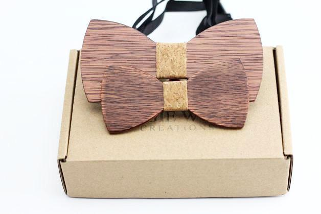Angiewoodcreations Wooden bow tie 4 ( Cork ) 100% Natural Eco-friendly FAMILY & KIDS handmade Wooden Bow Tie
