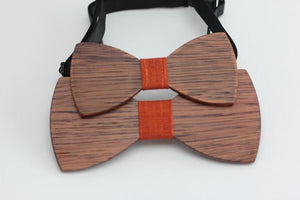 Angiewoodcreations Wooden bow tie 5 ( Orange) 100% Natural Eco-friendly FAMILY & KIDS handmade Wooden Bow Tie