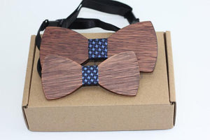 Angiewoodcreations Wooden bow tie 6 (dark blue with stars) 100% Natural Eco-friendly FAMILY & KIDS handmade Wooden Bow Tie