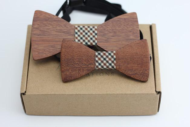 Angiewoodcreations Wooden bow tie 7 ( square pattern) 100% Natural Eco-friendly FAMILY & KIDS handmade Wooden Bow Tie