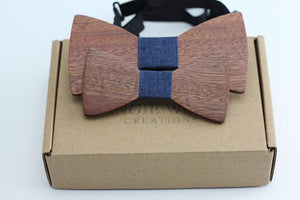Angiewoodcreations Wooden bow tie 8 ( blue cotton) 100% Natural Eco-friendly FAMILY & KIDS handmade Wooden Bow Tie