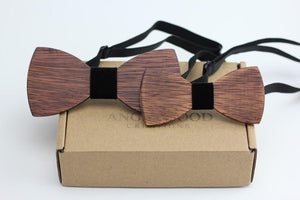 Angiewoodcreations Wooden bow tie 9 ( black) 100% Natural Eco-friendly FAMILY & KIDS handmade Wooden Bow Tie