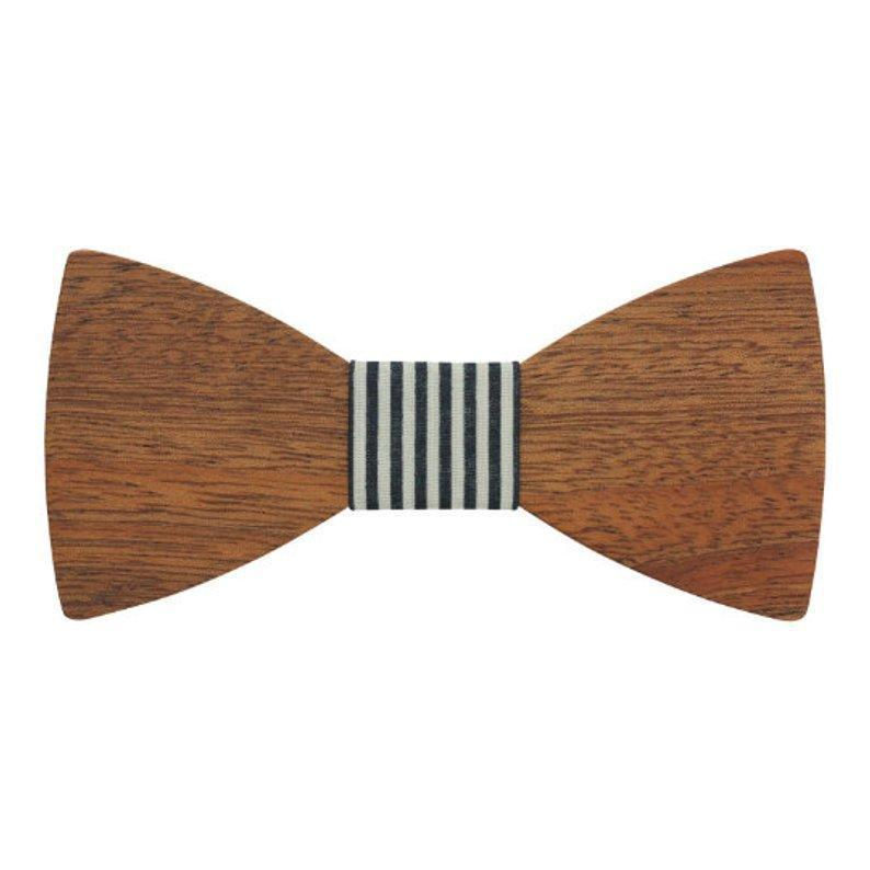 Engraved Adult Size Red Sandalwood Butterfly Bowtie with Black and White Striped Centerpiece (B0219)