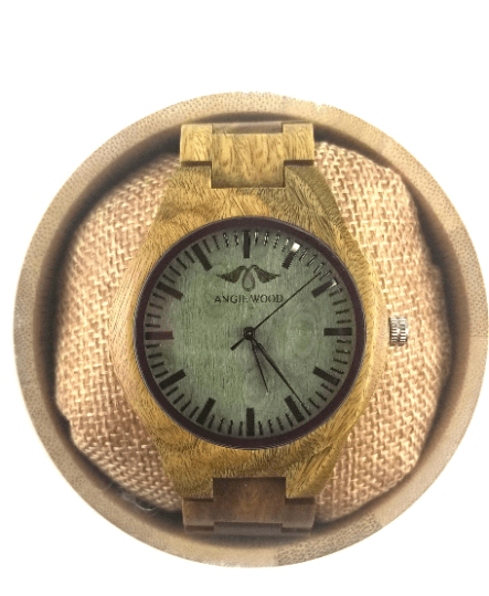 Angie Wood Creations Laser Engraved Green Sandalwood Men's Watch W184