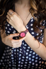 Angie Wood Creations Purpleheart Women's Watch with Pink Dial and Purpleheart Bracelet