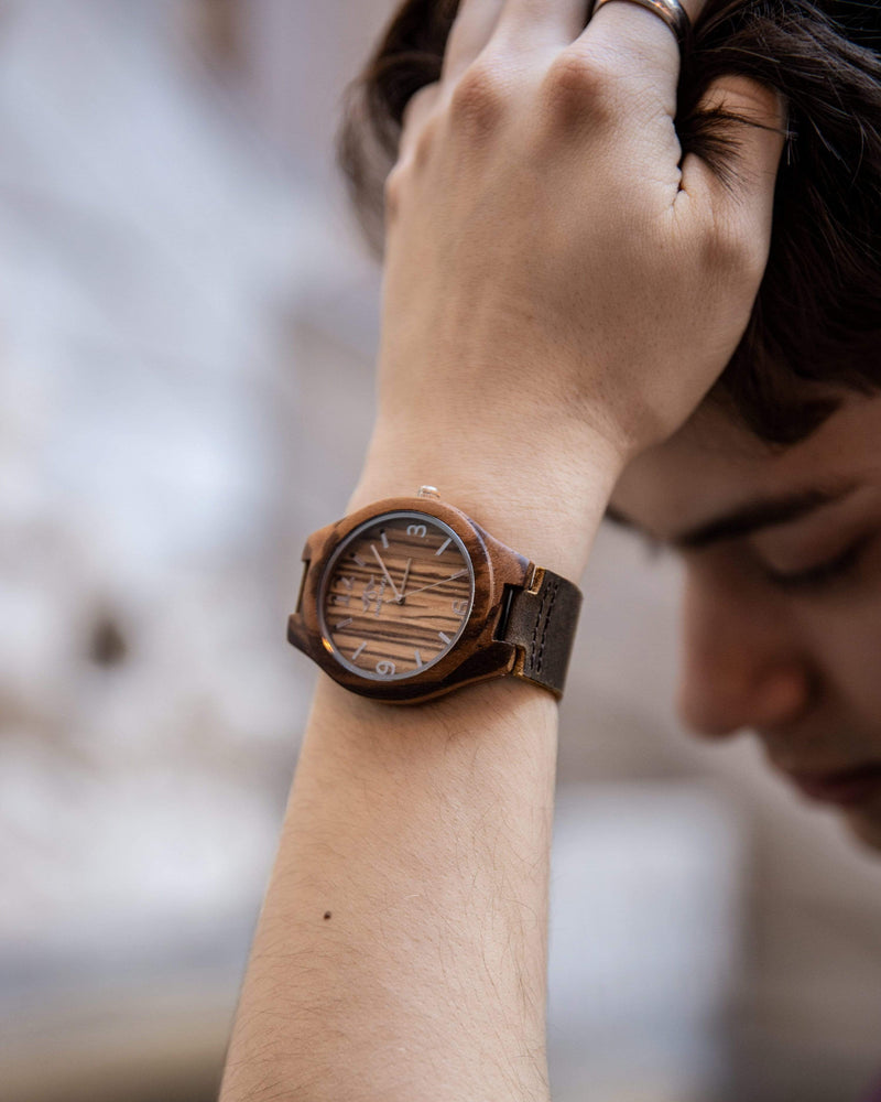 Angie Wood Creations Zebrawood Men's Watch With Brown Leather Band