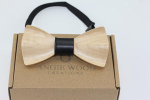 Angiewoodcreations Wooden bow tie Black 3D Plain bowtie 3 D Wooden bowtie 100% Natural Eco-friendly handmade Wooden Bow Tie