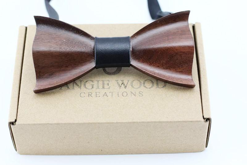 3 D Wooden bowtie 100% Natural Eco-friendly handmade Wooden Bow Tie Curve model