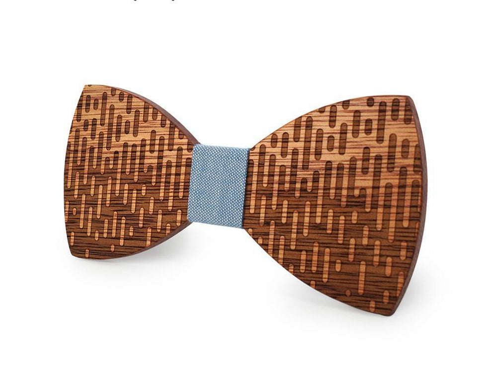 Angiewoodcreations Wooden bow tie Blue 100% Natural Eco-friendly handmade Wooden Bow Tie