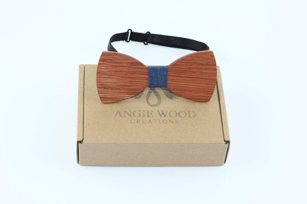 Angiewoodcreations Wooden bow tie Blue B71 Babak Not engraving 100% Natural Eco-friendly handmade Wooden Bow Tie