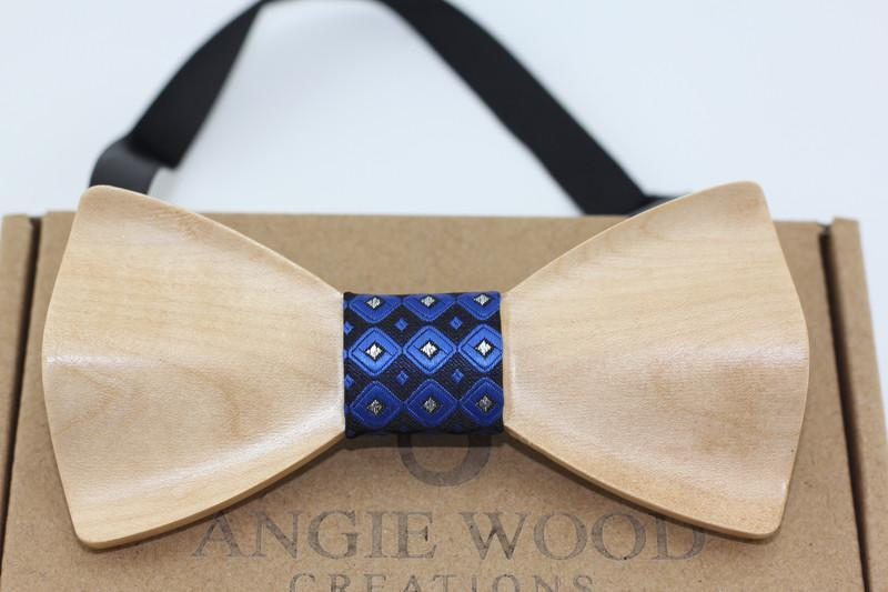 Angiewoodcreations Wooden bow tie Blue + Black 3D walnut wood 3 D Wooden bowtie 100% Natural Eco-friendly handmade Wooden Bow Tie