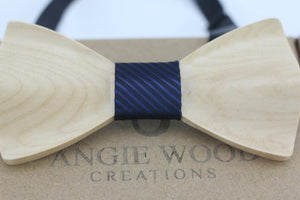 Angiewoodcreations Wooden bow tie Blue stripe 3D plain wood bowtie 3 D Wooden bowtie 100% Natural Eco-friendly handmade Wooden Bow Tie