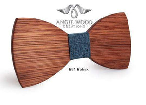 Angiewoodcreations Wooden bow tie Brown B73 Brooks Not Engraving 100% Natural Eco-friendly handmade Wooden Bow Tie