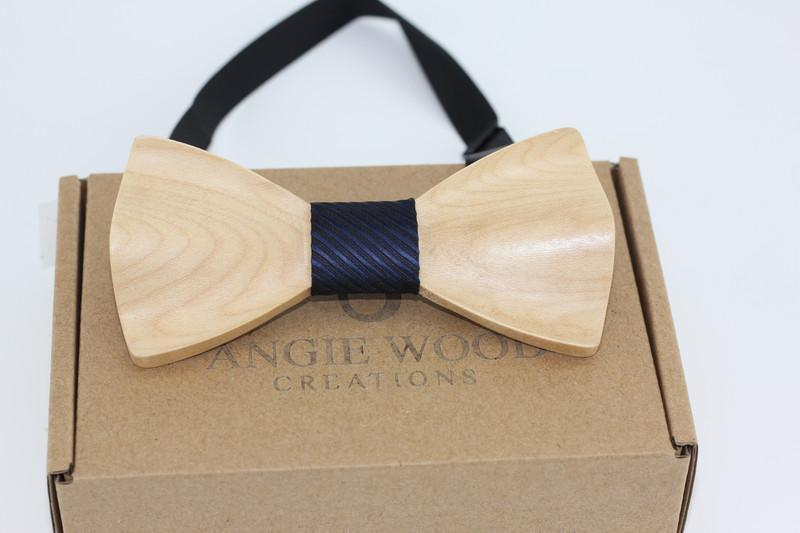Angiewoodcreations Wooden bow tie Cork 3D plain wood bowtie 3 D Wooden bowtie 100% Natural Eco-friendly handmade Wooden Bow Tie