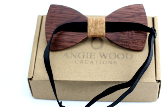 Angiewoodcreations kids wooden bowtie CORK KIDS Bow Tie 100% Natural Eco-friendly Handmade Wooden