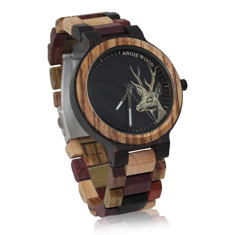 Angiewoodcreations Wood watch Couple Angie Wood Creations Ebony and Zebrawood Men's Watch With Multi-wood Bracelet