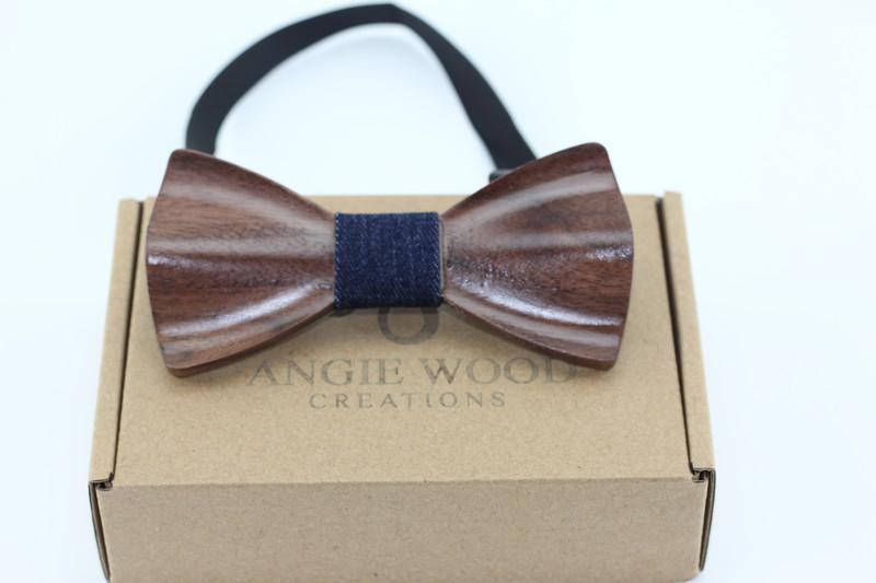 Angiewoodcreations Wooden bow tie Denim Blue Plain Walnut wood 3 D Wooden bowtie 100% Natural Eco-friendly handmade Wooden Bow Tie