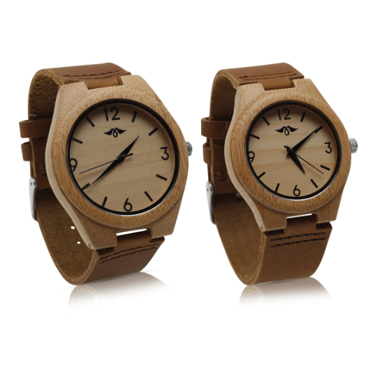Engraved Bamboo Couple Watch with Brown Leather Strap(W087)