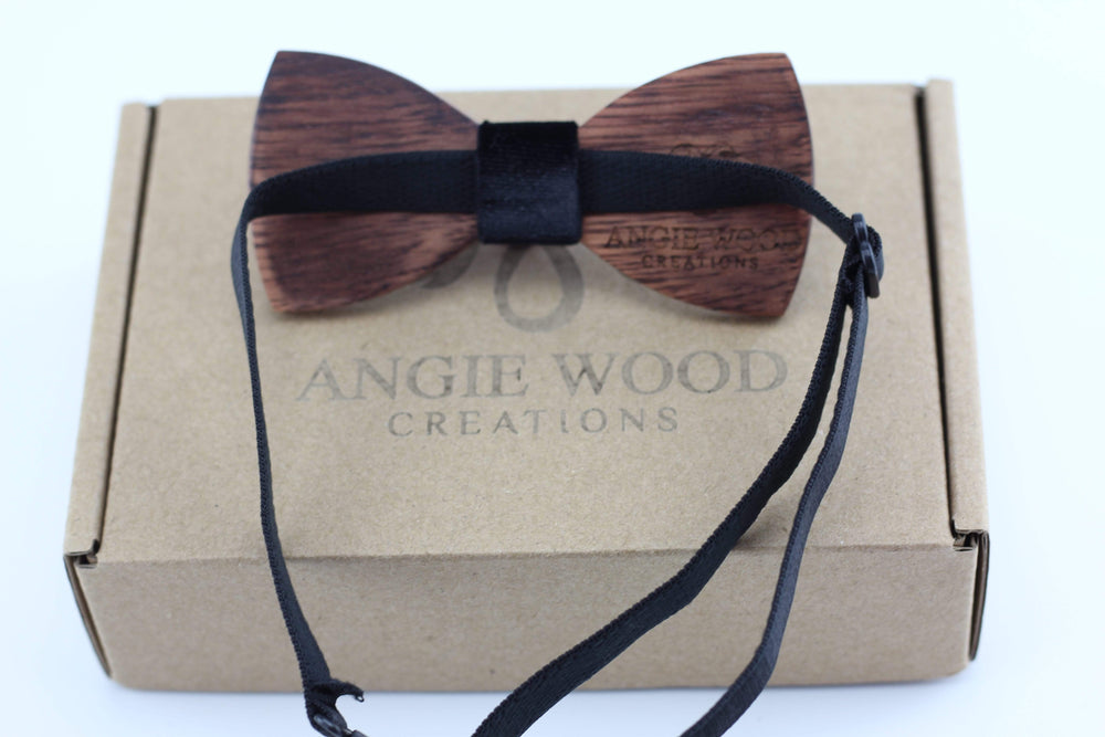 Angiewoodcreations kids wooden bowtie Kids wooden bowtie with black