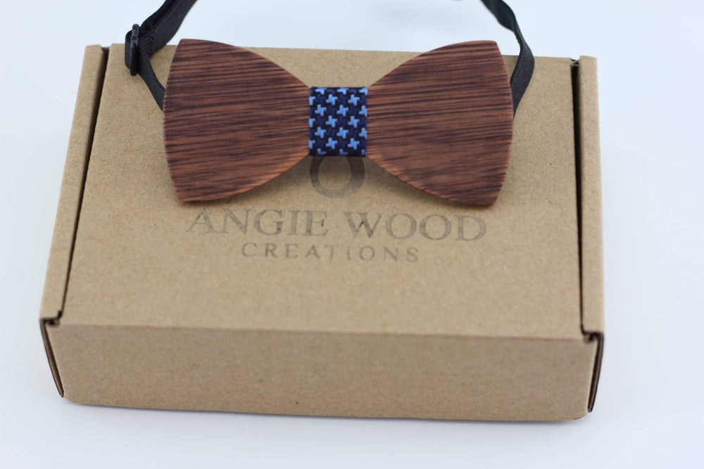 Angiewoodcreations kids wooden bowtie Kids wooden bowtie with blue denim star pattern