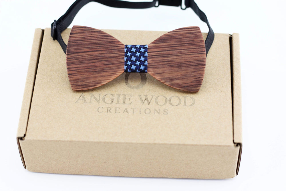 Kids Wooden Bowtie with Blue Denim Star Pattern