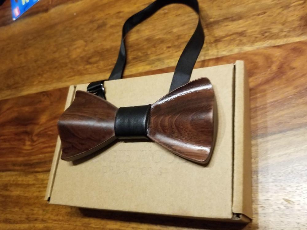 Angiewoodcreations Wooden bow tie Leather Black 3 D sandal wood 3 D Wooden bowtie 100% Natural Eco-friendly handmade Wooden Bow Tie