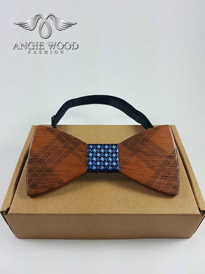 Angiewoodcreations Wooden bow tie Light blue 100% Natural Eco-friendly handmade Wooden Bow Tie