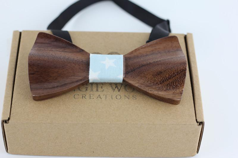 Angiewoodcreations Wooden bow tie Light blue with star pattern 3 D walnut wood 3 D Wooden bowtie 100% Natural Eco-friendly handmade Wooden Bow Tie
