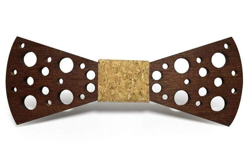 Angiewoodcreations Wooden bow tie Light brown with orange denim 100% Natural Eco-friendly handmade Wooden Bow Tie
