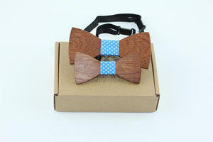 Angiewoodcreations Wooden bow tie Model 1 dot polka light blue 100% Natural Eco-friendly FAMILY & KIDS handmade Wooden Bow Tie