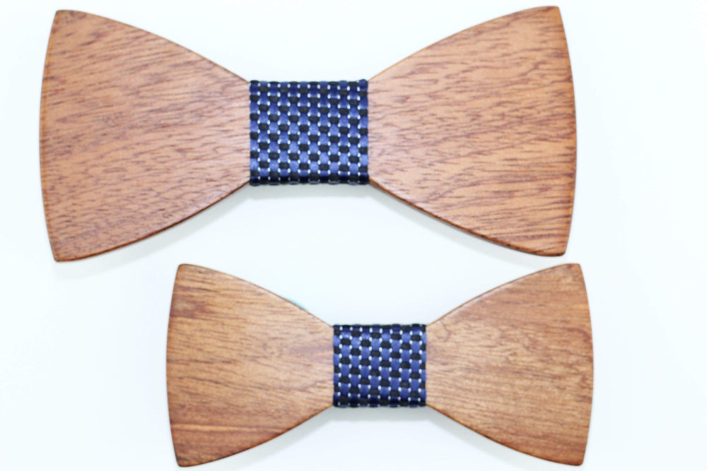Angiewoodcreations Wooden bow tie Model 10 dark blue stripe 100% Natural Eco-friendly FAMILY & KIDS handmade Wooden Bow Tie