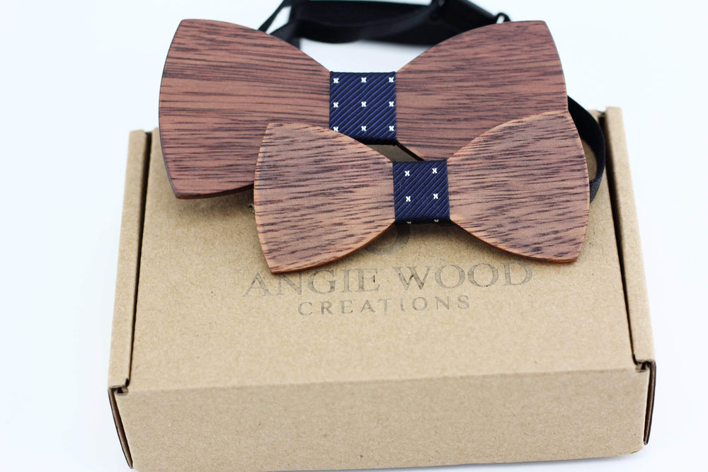 Angiewoodcreations Wooden bow tie Model 2 blue with star pattern 100% Natural Eco-friendly FAMILY & KIDS handmade Wooden Bow Tie