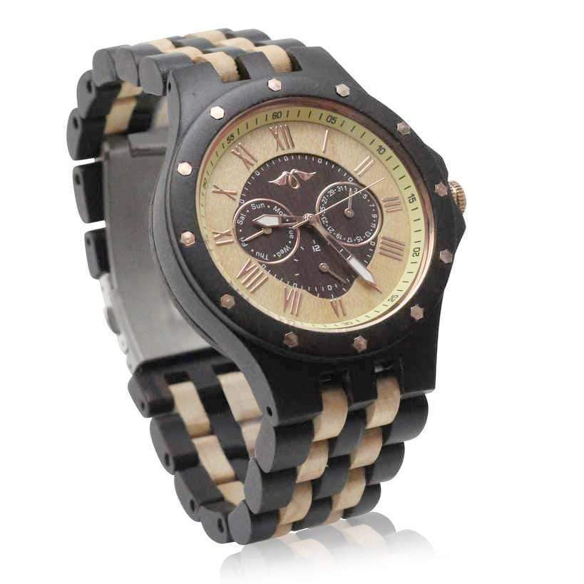 angiewoodcreations Wood watch No custom engrave on watch Angie Wood Creations Ebony Men's Watch with Ebony and Maple Bracelet