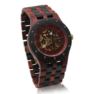 angiewoodcreations Wood watch No custom engraving on box Angie Wood Creations Blood Sandalwood Men's Self-Winding Watch With Skeleton Display