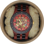 Angie Wood Creations Blood Sandalwood Men's Self-Winding Watch With Skeleton Display