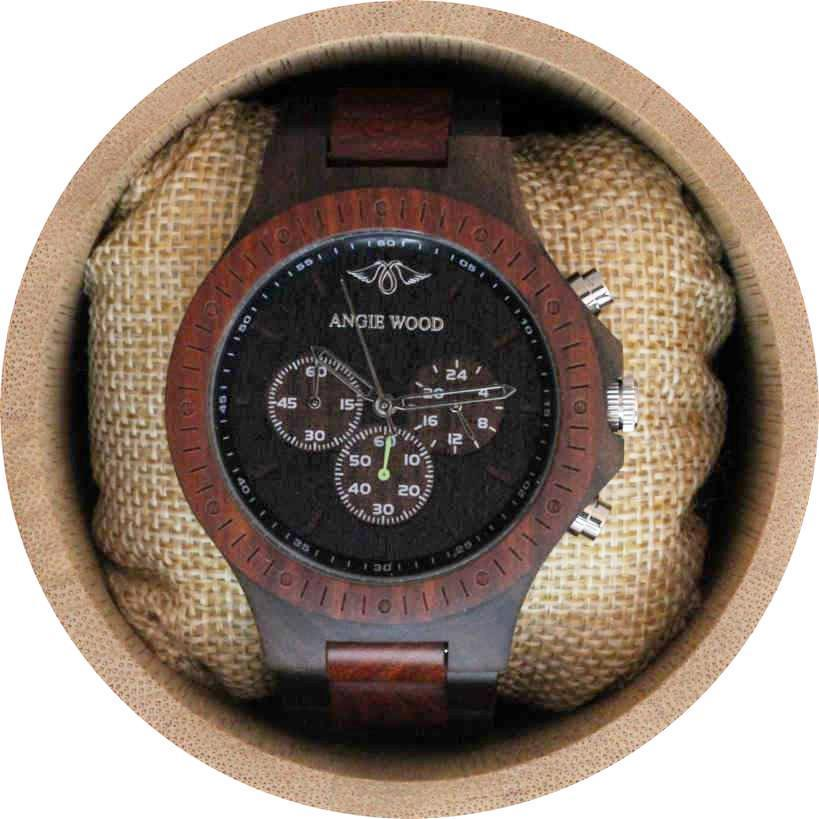 Angie Wood Creations Dark Sandalwood and Red Sandalwood Men's Watch