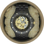 Angie Wood Creations Dark Sandalwood Men's Automatic Watch With Skeleton Dial