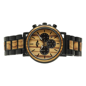 angiewoodcreations Wood watch No custom engraving on box Angie Wood Creations Ebony and Zebrawood Men's Watch With Zebrawood Dial
