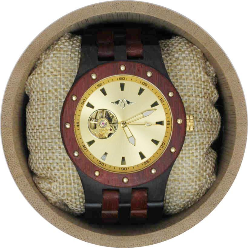 Angie Wood Creations Ebony Men's Self-Winding Watch With Gold Dial