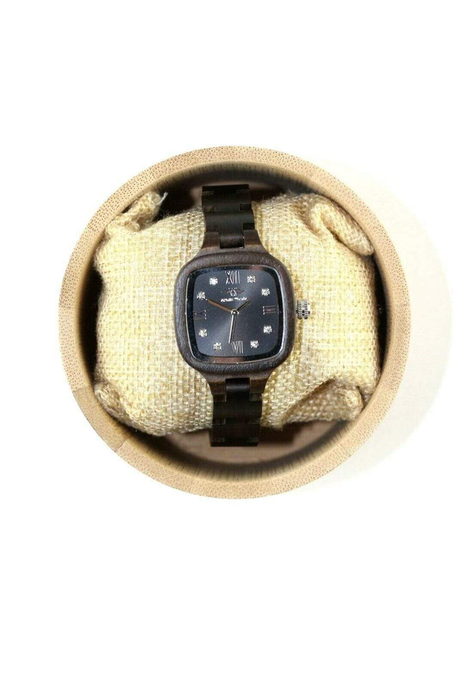 angiewoodcreations Wood watch No custom engraving on box Angie Wood Creations Ebony Wood Women's Watch Diamond Dial (W162)