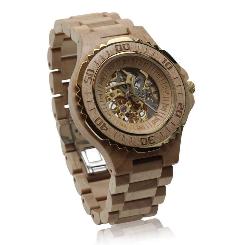 angiewoodcreations Wood watch No custom engraving on box Angie Wood Creations Maple Wood Automatic Men's Watch With Maple Wood Bracelet