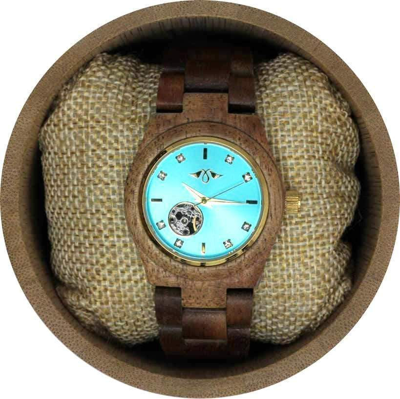 Angie Wood Creations Zebrawood Women's Automatic Watch With Blue Dial