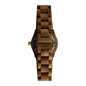 angiewoodcreations Wood watch No custom engraving on box Angie Wood Creations Zebrawood Women's Automatic Watch With Blue Dial