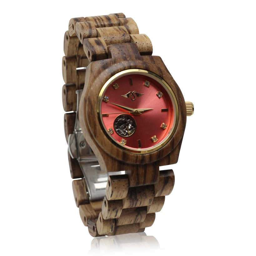 angiewoodcreations Wood watch No custom engraving on box Angie Wood Creations Zebrawood Women's Automatic Watch With Pink Dial
