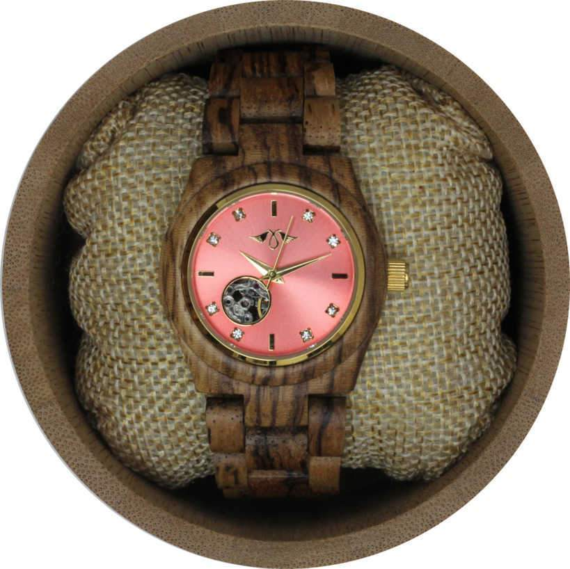Angie Wood Creations Zebrawood Women's Automatic Watch With Pink Dial