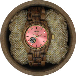 Angie Wood Creations Zebrawood Women\'s Automatic Watch With Pink Dial