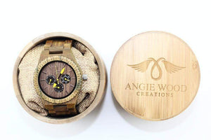 angiewoodcreations Wood watch No engraving on back of watch Angie Wood Creations Green Sandalwood Men's Watch With Adjustable Bracelet