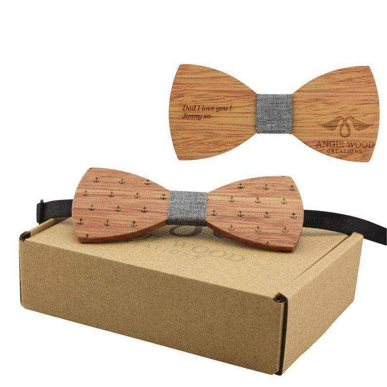 100% Natural Eco-friendly Handmade Wooden Bow Tie Anchor Style