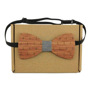 Angiewoodcreations Wooden bow tie Not Engrave 100% Natural Eco-friendly handmade Wooden Bow Tie Anchor Style